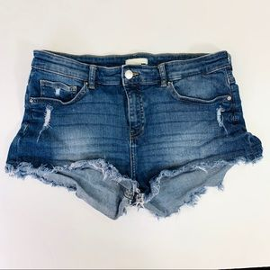 H&M Jean Short Cut Off Distressed  Blue Size 10